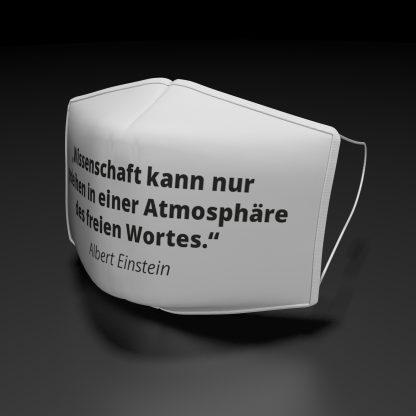 """joseph-fröhlich.de   Alltagsmaske mit der Aufschrift """"Wissenschaft kann nur gedeihen..."""""""